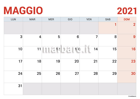 Calendario Maggio 2021 in PDF da scaricare e stampare