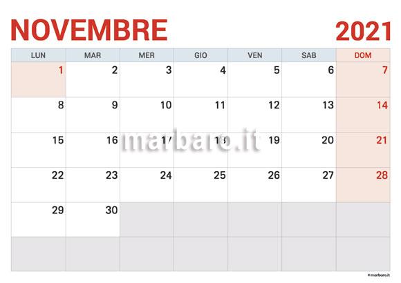 Calendario Novembre 2021 da stampare