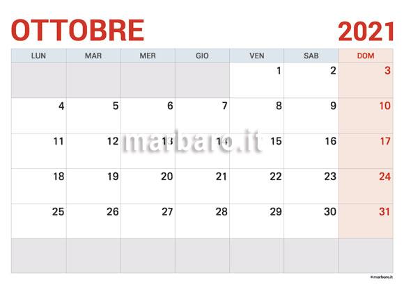 Calendario Ottobre 2021 in PDF da scaricare e stampare