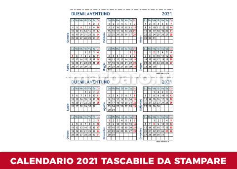 Calendario tascabile 2021 da scaricare in PDF