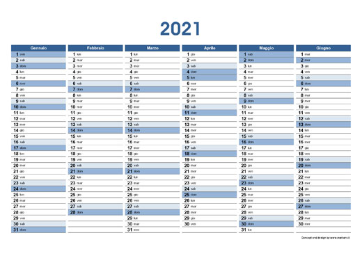 Calendario planner 2021 in PDF stampabile