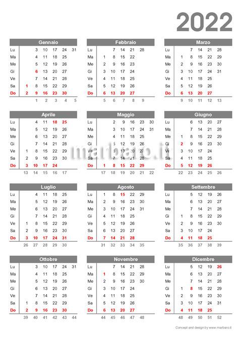 Calendario annuale 2022 con le settimane in PDF da stampare