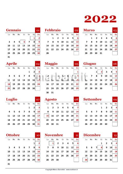 Un calendario annuale 2022 stampabile