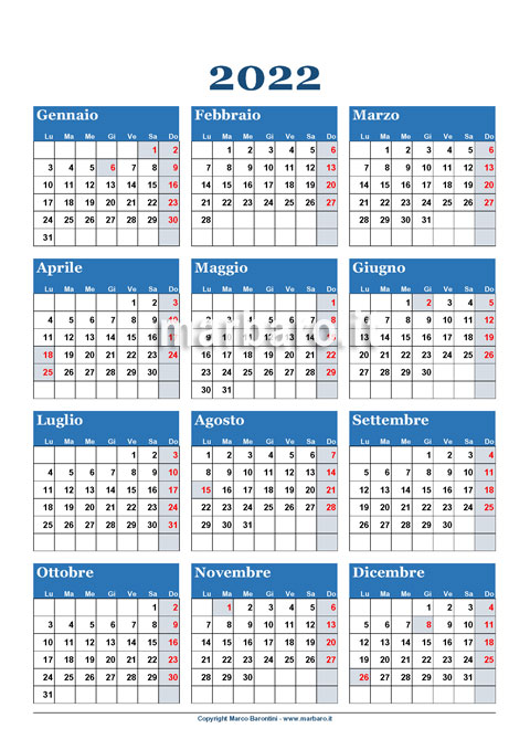 Calendario 2022 annuale da scaricare gratis