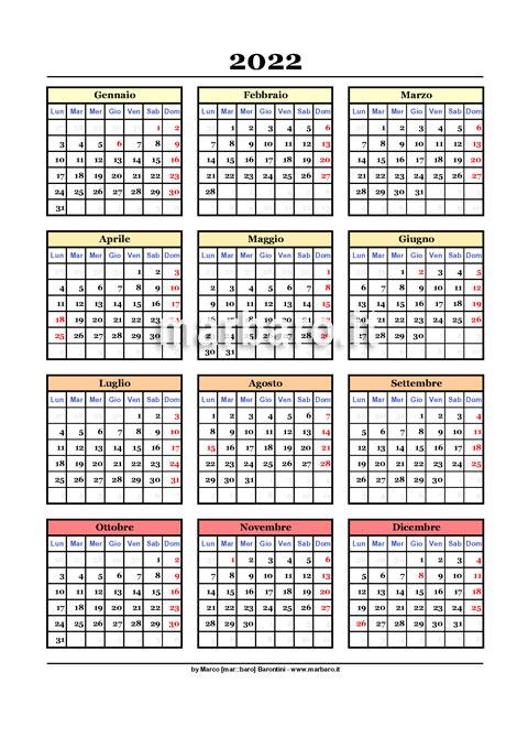 Calendario annuale 2022 stampabile in A4