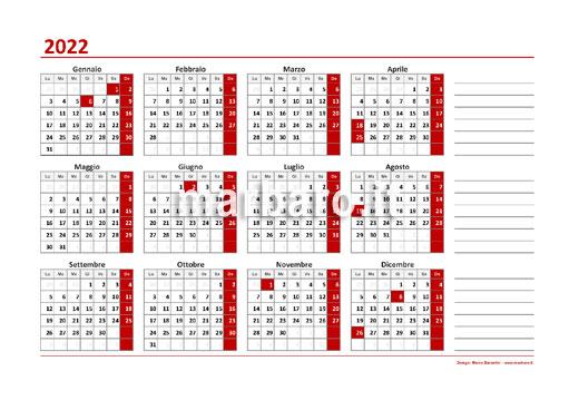 Un semplice calendario annuale 2022 da stampare