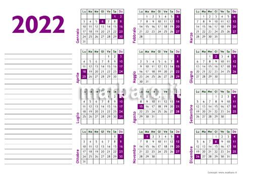 Calendario annuale 2022 da scaricare in PDF