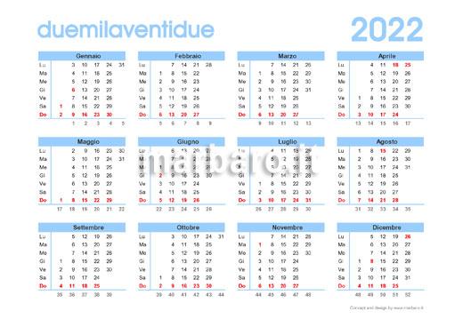 Scarica gratis il calendario 2022 annuale