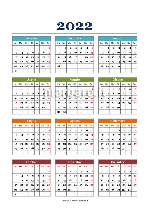 Calendario 2022 annuale da stampare
