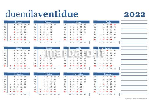 Calendario 2022 stampabile su unica pagina