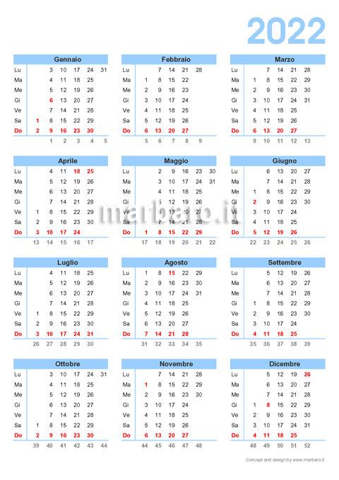 Calendario annuale 2022 con le settimane da stampare