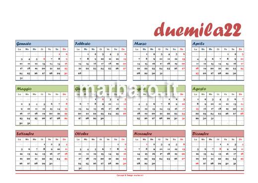 Scarica il calendario 2022 da stampare in A4
