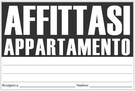 Cartello affittasi da stampare for Affitto appartamento