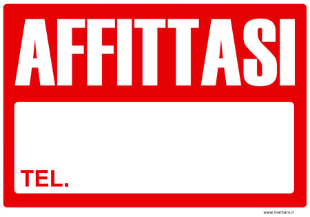 Cartello affittasi compilabile