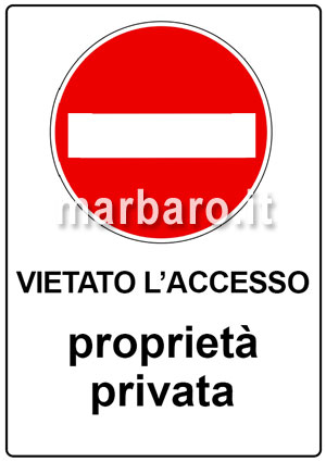 cartelli di divieto da