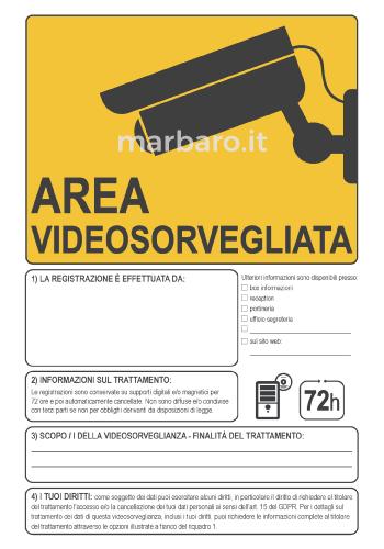 Cartello avviso di videosorveglianza stampabile