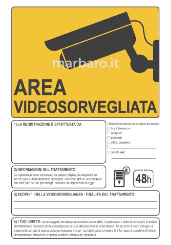 Cartello videosorveglianza in PDF compilabile e stampabile