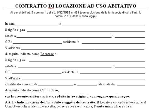 Facsimile contratto locazione ad uso abitativo in word mercato libero