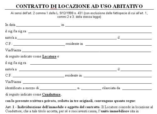 Moduli da stampare e compilare oltre 50 modelli di for Contratto di locazione con cedolare secca