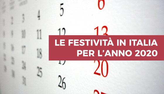 Festività 2020 in Italia