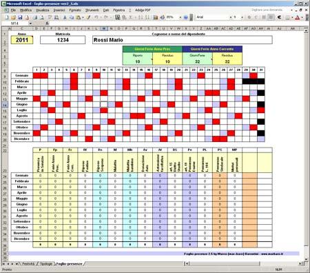 Controllo Calendario Excel 2020.Foglio Presenze In Excel Gestione Presenze Ferie Malattie
