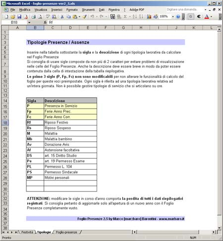 Calendario Presenze Excel.Foglio Presenze In Excel Gestione Presenze Ferie Malattie