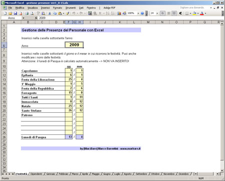 Gestione Presenze Excel