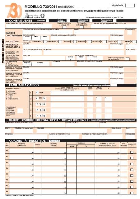 modello 730 2011 da scaricare pdf