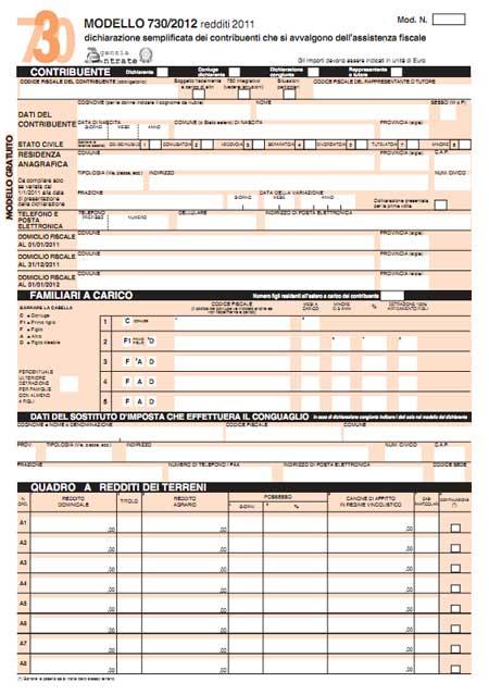 Modello 730 2012 in pdf da scaricare for 730 modello