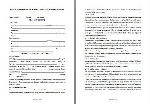 Modello contratto di comodato d 39 uso gratuito terreno agricolo - Contratto di affitto ad uso abitativo ...
