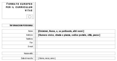 Modello Curriculum Vitae Europeo In Word Da Scaricare E Stampare