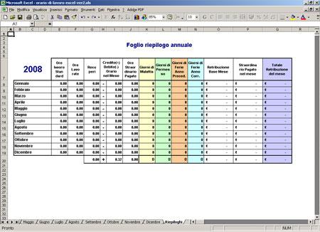 Calendario Presenze Excel.Foglio Excel Ore Lavoro Mensile Gratis