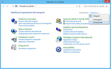 Pannello di controllo di Windows 8