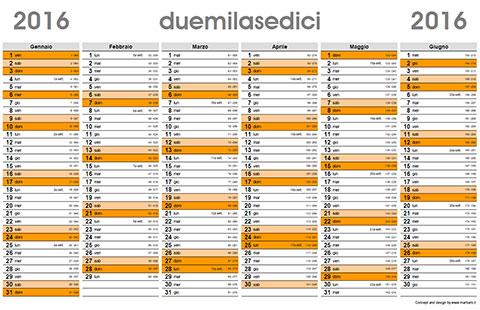 Calendario Con Numero Giorni.Planner 2016 Il Calendario Planner Da Scaricare E Stampare