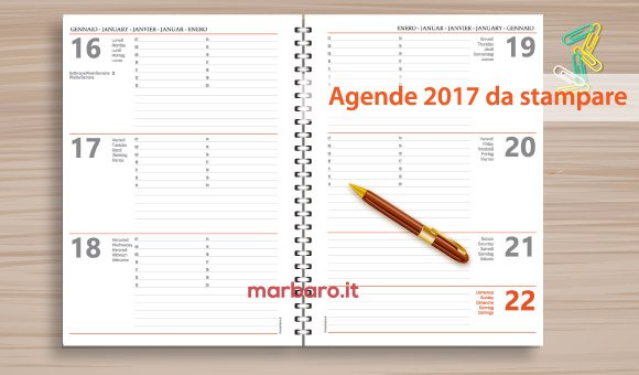Agenda 2017 settimanale da stampare scarica gratis il pdf - Calendario da tavolo 2017 ...
